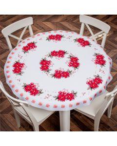 AZALIA/KSP/CZE/160000/1 Obrus drukowany okrągły AZALIA kolor czerwony