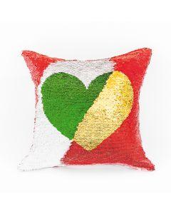 HEART0/POP/203/040040/1 Poszewka HEART kolor biały-złoty/czerwony-zielony