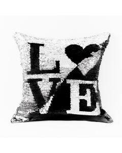 LOVE00/POP/206/040040/1 Poszewka LOVE kolor czarny/srebrny