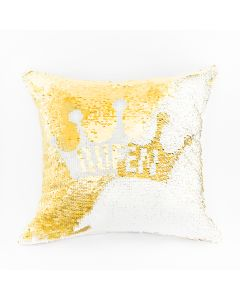 QUEEN0/POP/229/040040/1 Poszewka QUEEN kolor biały/złoty