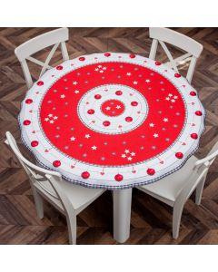SABRIN/KSP/CZE/140000/1 Obrus drukowany okrągły SABRINA kolor czerwony